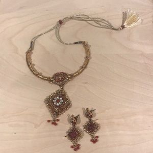Gold plated semi precious stone jewelry set